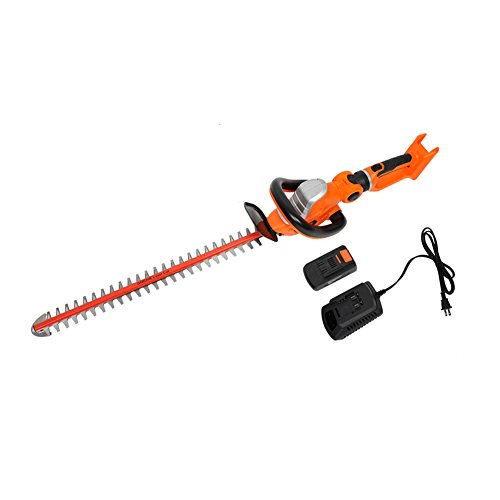 GARCARE 20V Li-ion Cordless Hedge Trimmer,24 inch Laser Blade, 2.0ah Battery, 1 hour Charger Included by GARCARE