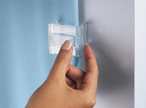 Kleine Wolke 0279100000 - Juego de pinzas para sujetar la cortina de ducha a la pared (2 unidades), color blanco: Amazon.es: Hogar