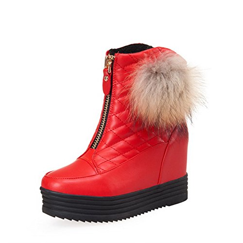 VogueZone009 Women's Soft Material Zipper Round Closed Toe High Heels Solid Boots, Red, 41
