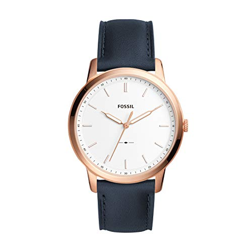 Fossil Men's Minimalist Quartz Stainless Steel and Leather Casual Watch Color: Rose Gold Blue (Model: FS5371)