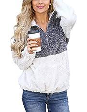 Angashion Womens Long Sleeve Half Zip Fuzzy Fleece Pullover Jacket Outwear Sweatshirt Tops Coat with Pocket 324 Blue M