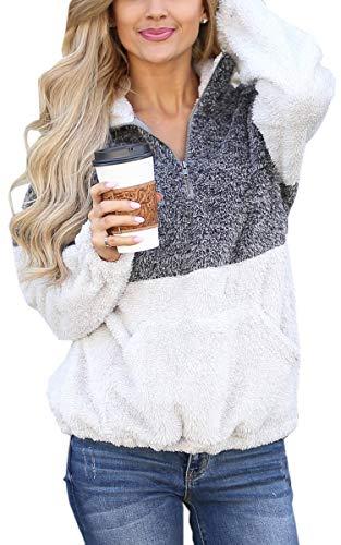 Angashion Womens Long Sleeve Half Zip Fuzzy Fleece Pullover Jacket Outwear Sweatshirt Tops Coat with Pocket Black Grey S