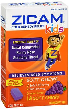 Zicam Kids Cold Remedy Relief Soft Chews Grape Flavor - 18 ct, Pack of 4 ()