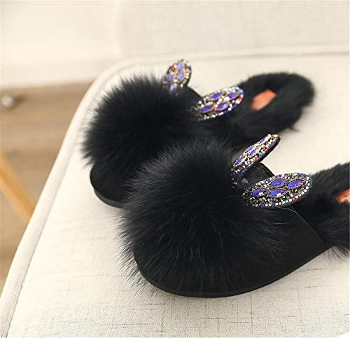 Gli Memory outdoor Foam Invernali Indossano Studenti Animale Pelliccia New Ciabattine Black Di Pantofole Da In Scarpe Donna Coniglio Indoor Slippe FqSI5w6