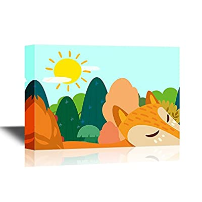 Canvas Wall Art - Cartoon Fox Walking Past The Forest - Gallery Wrap Modern Home Art | Ready to Hang - 12x18 inches