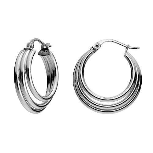 Hoops & Loops Sterling Silver Triple Circle Round-Tube Polished Hoop Earrings