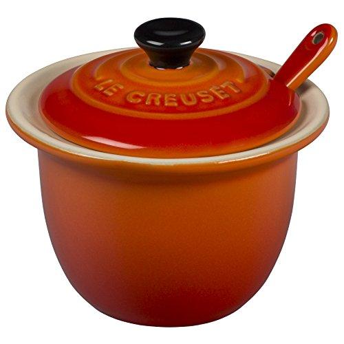 3/4 Oz Bowl - Le Creuset Stoneware Condiment Pot with Spoon, 6 3/4-Ounce, Flame