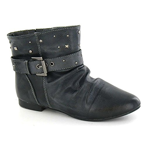 Girls Ankle Buckle Strap Cutie Boots Flat Studded Black pXqdE1x