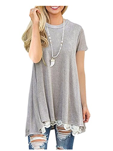 Lelili-Shirt Clearance!! Women Shirt Dress Short Sleeve,Lelili Fashion Lace Patchwork Crewneck Pleat Swing Blouse Tops Sweatshirt (XL, Gray)