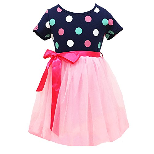 Little Girls Tutu Dresses,Toddler Polka Dots Dress,Pink Multilayer Tulle Dress,Summer Party Dresses 5-6 Year