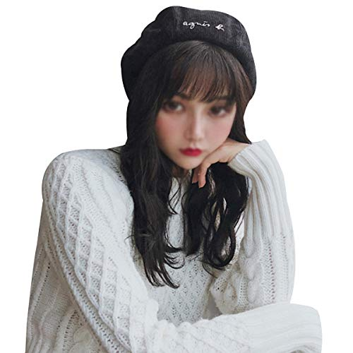 Striped Womens Beret - Editha Women Classic Solid Color Corduroy Beret Striped Octagonal Pumpkin Hat Winter Warm Beanie Cap 3183 Black