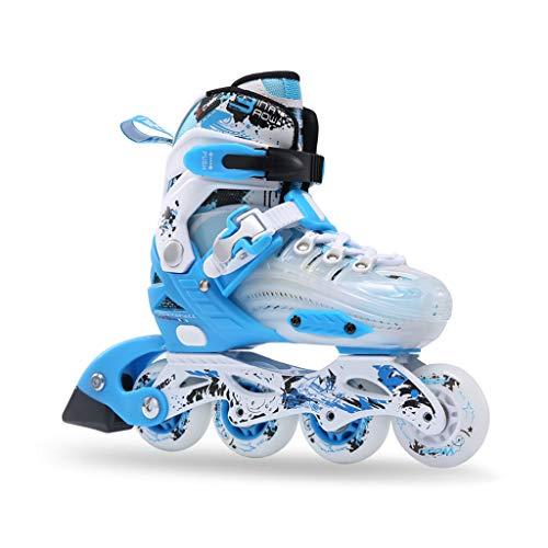トランスミッションディーラー底ailj インラインスケート、子供用スピードスケート、フルセットのローラースケート、調整可能なスケート(4色) (色 : Pink, サイズ さいず : M (34-37 yards) 6-12 years old)