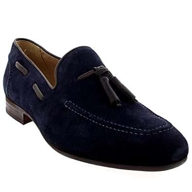 H By Hudson Mens Pierre Tassel Office Smart Slip On Work Loafers Shoes - Navy - 7