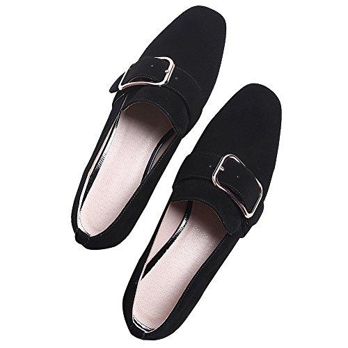Sur Suède Chunky Chaussures Branché Glisser Rismart Boucle Noir Talon Femme Escarpins nSx0Tt