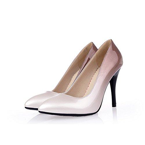 Toe Assortiti Rilevare Femminile Pull Colore Pompe on Chiuso Amoonyfashion Vernice calzature Albicocca Tacchi KSAazRAq