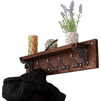 Amazon.com: Perchero de madera maciza con 6 ganchos, montaje ...