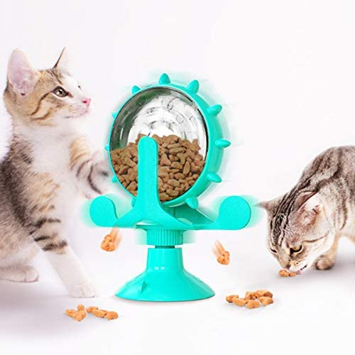 MPATIBY Pet Supplies Windmill Cat Toy, Cat Teasing Windmill Toy-Rotating Cat Toys-Interactive Teasing Cat Toy-Funny Interactive Training Pet Leakage Toy with Suction Cup for Cat