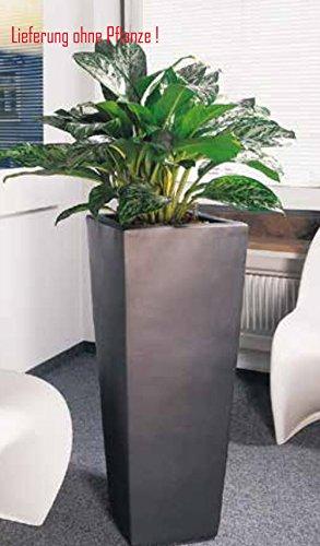 Blumenübertopf Kubis aus Keramik,nur für Innen geeignet, Farbe Anthrazit, 33x33x60cm