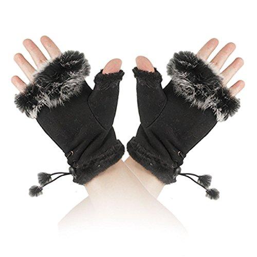 EUBUY Elegant Knitted Knit Faux Rabbit Fingerless Gloves Arm Warmers for Women Girls ()