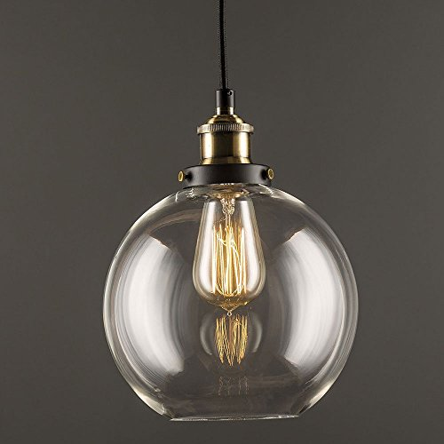 ❤️Glass Pendant Light Vintage Industrial Clear Glass Ball ...