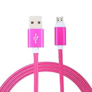 Aobiny 2M New Micro USB Cable Charger Data Sync Cord For Android Phones (Hot Pink)