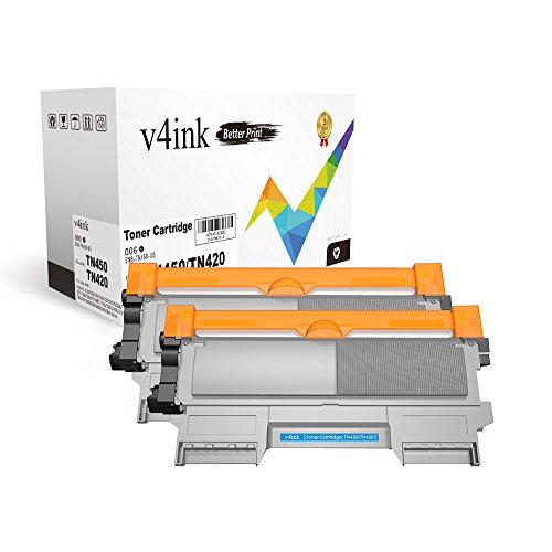 V4INK 2-Pack New Compatible Brother TN420 TN450 Toner Cartridge for Brother HL-2240 HL-2240D HL-2270DW HL-2280DW MFC-7360N MFC-7860DW Brother IntelliFax-2840 2940 DCP-7060D DCP-7065DN Printer - Black