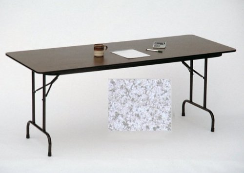 Melamine Standard Fixed Height Folding Table (30 in. x 96 in./Gray Granite) - Granite Melamine Top Folding Table