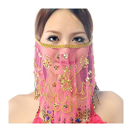 Wuchieal Women's Belly Dance Tribal Face Veil With Halloween Costume Accessory (Dark Pink)