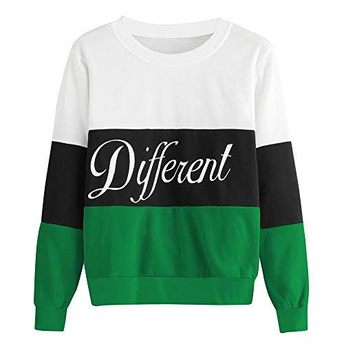 KFSO Women's Different Long Sleeve Patchwork Color Block Pullover Stripe Sweatshirt Blouse Tops (Green, M) -