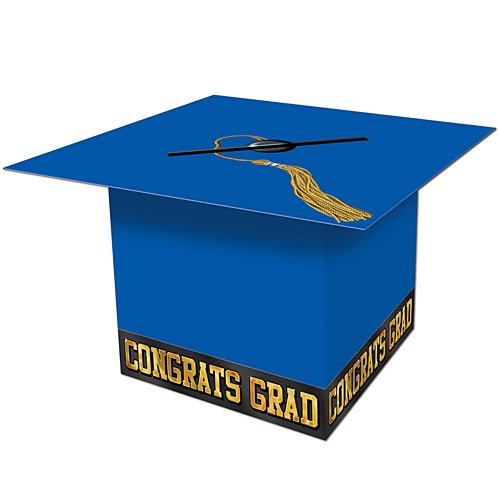 Beistle Graduate Cap Card Box, 8-1/2-Inch by 8-1/2-Inch, Blue]()