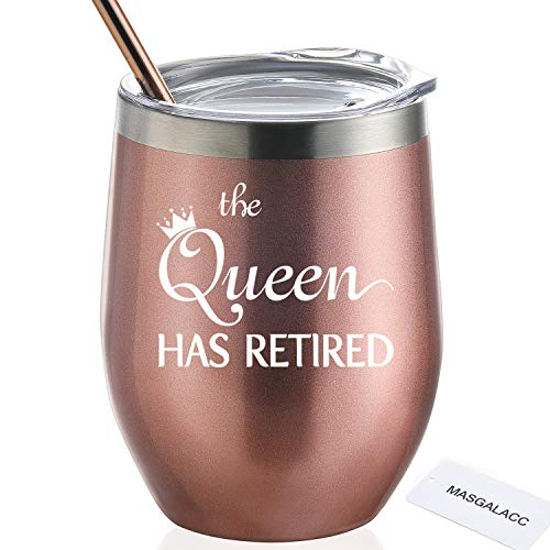 Retirement Gifts For Women The Queen Has Retired 12 oz Stainless Steel Wine Tumbler with Lid and Straw Funny Retirement Gift for Her (Best Retirement Gifts For Her)