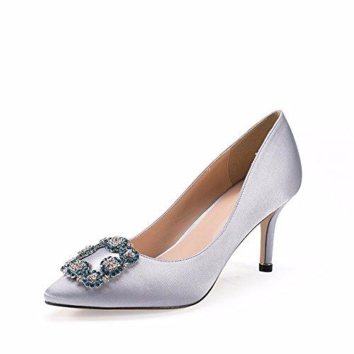 HXVU56546 Nueva Caída Solo Zapatos Zapatos De Mujer Tacones Altos Hebilla Zapatos De Punta Boca Superficial De Moda Gray