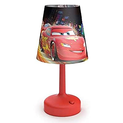 Philips Disney Cars Indoor Portable 10 Inch Kids Table Lamp with Shade, Red: Home & Kitchen