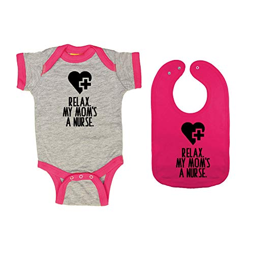 (Mashed Clothing - Relax. My Mom's A Nurse. - Baby Ringer Bodysuit & Premium Bib Gift Set (Heather/Hot Pink Ringer, Hot Pink Bib,)