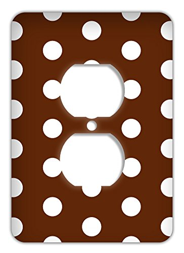 (Large Polka Dot Print Trendy Printed Outlet Cover, Chocolate)