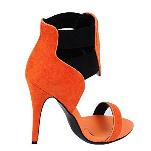 hechas sandalias Orange mano ante ciervo L alto de Bolso de de tacón YC de con mujer a fAzwfq1na