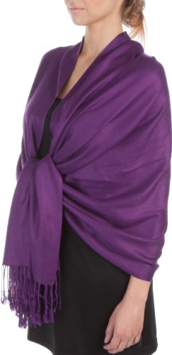 Sakkas Large Soft Silky Pashmina Shawl Wrap Scarf Stole in Solid Colors - Eggplant