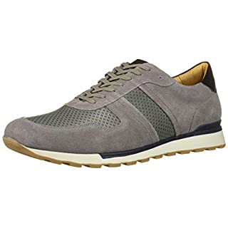 MARC JOSEPH NEW YORK Men's Leather Made in Brazil Luxury Fashion Trainer Sneaker, Grey Suede, 7 M US