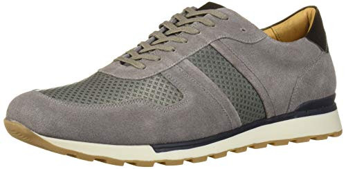 MARC JOSEPH NEW YORK Men's Leather Made in Brazil Luxury Fashion Trainer Sneaker, Grey Suede, 9 M US