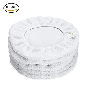 GOOACC 5 PACK Car Polisher Bonnet Pads (9 to 10 Inch) White Synthetic Fleece Wax Cover Set, Lint-free …