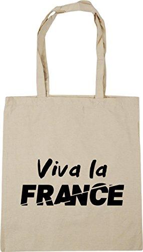 HippoWarehouse Viva la France Tote Shopping Gym Beach Bag 42cm x38cm, 10 litres Natural