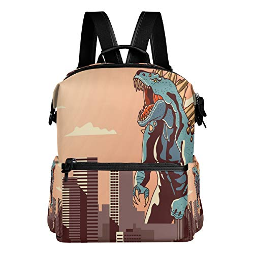 Godzilla At The Town School Backpack Large Capacity Polyester Rucksack Satchel Casual Travel Daypack for Adult Teen Women Men Children