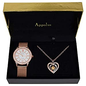 Appolus Mothers Day Necklace Watch Gift Set - Gifts for Mom Women Girlfriend Wife Birthday Watch Necklace Engraved