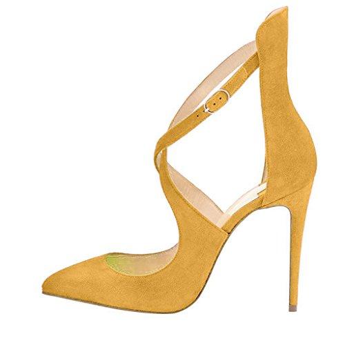 Fsj Femmes Mode À Talons Hauts Pompes Bout Pointu Sandales Stiletto Croix Sangles Robe Chaussures Taille 4-15 Us Jaune