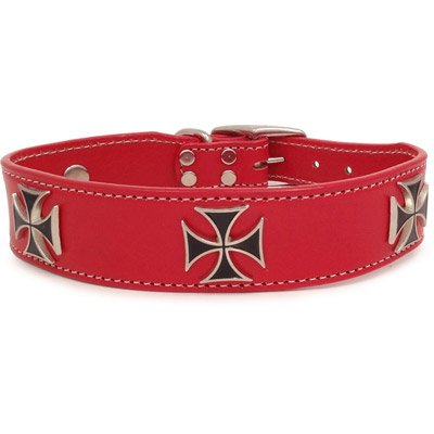"""Red Leather Iron Cross Dog Collar 22"""""""