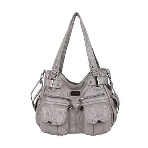 Handbag Hobo Women Shoulder Bag/Handbag Roomy Multiple Pockets Fashion PU Tote, Dark Grey-1 ()