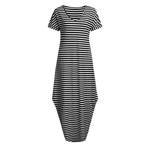 (Caopixx Vertical Stripes Stretch Dress Lady Women's V Neck Side Pockets Striped Split Hem Beach Long Maxi Dress Black)