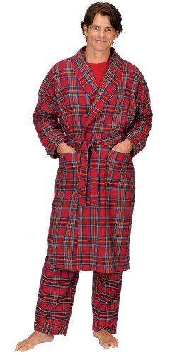 PajamaGram Men's Stewart Plaid Classic Flannel Robe