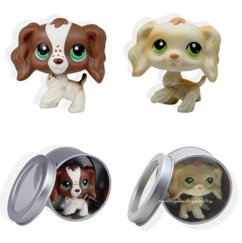 (2pcs #156 #347 Littlest Pet Shop Cocker Spaniel Puppy Dog LPS Rare)