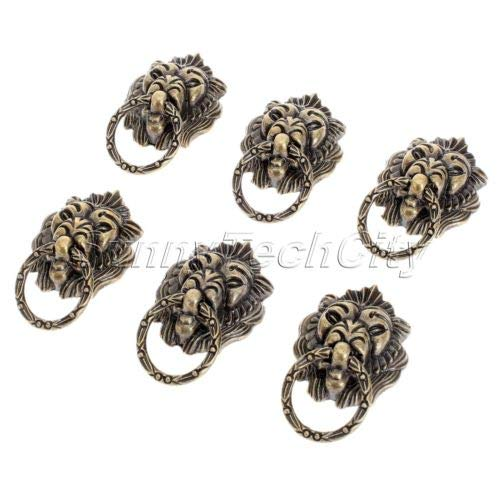 (FidgetFidget 6X Antique Brass Lion Head Cabinet Knob Ring Pull Handle Jewelry Box Decoration)